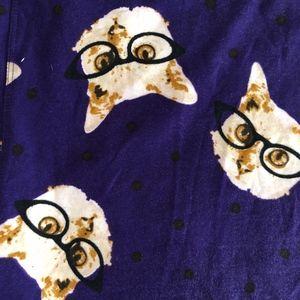 Womans LULAROE TC Purple Cat Glasses Leggings